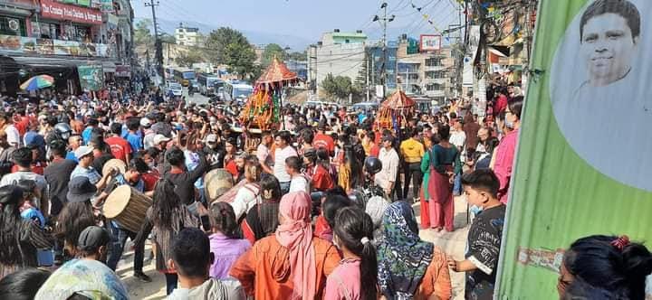 चामुण्डा देवी,रक्त बिनायक तथा महाँकाल भैरवको रथ यात्रा सम्पन्न